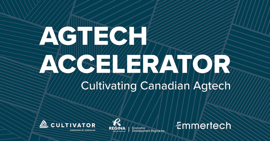 Agtech Accelerator Words on navy background with field lines
