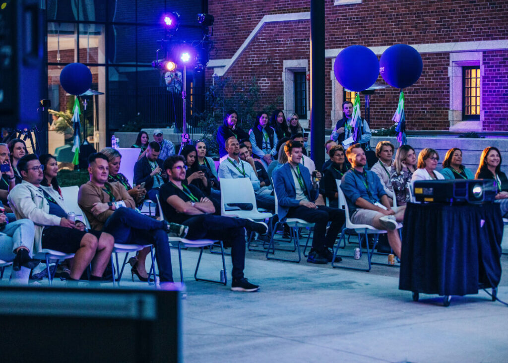 Startup Social Participants watching main stage speakers