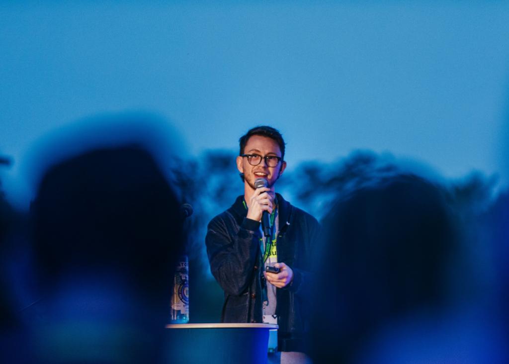 Sam Dietrich, Director and Co-Founder Prairie Robotics, speaking at Sask Startup Summit